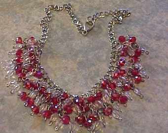 BEADED NECKLACE~~Lead-CRYSTAL, Faceted Beads in Clear and Red~~Gorgeous Beads~~I call it Pizzazz!