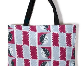 Barkcloth Black & Red Vintage Carry Bag