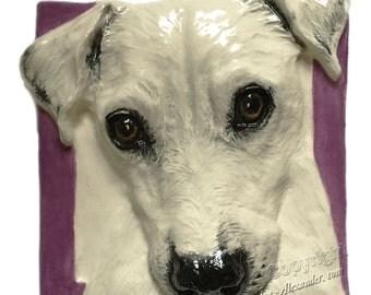 Semi-Custom Jack Russell Dog CERAMIC Portrait Sculpture 3d Dog Art Tile Plaque FUNCTIONAL ART by Sondra Alexander Just send a picture