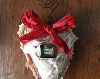 Handmade fabric heart ornament.....love