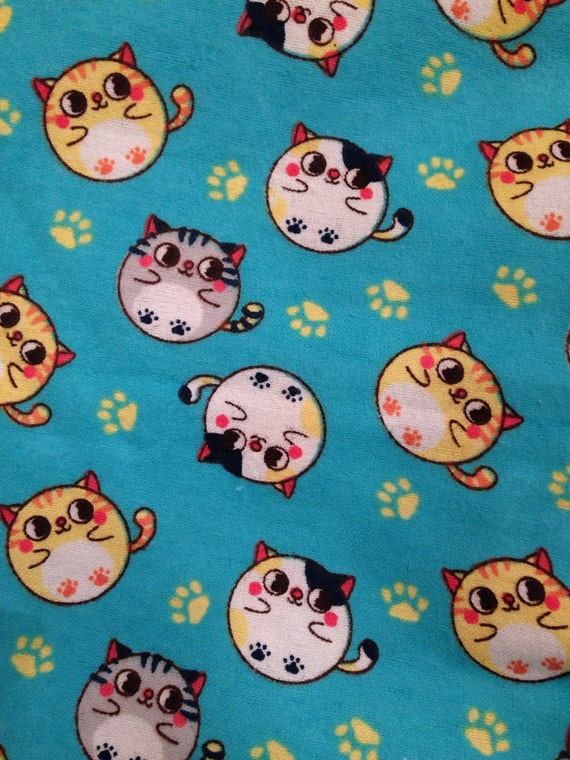 Cat Fabric Cute Cat Fabric Turquoise Flannel 100 Percent