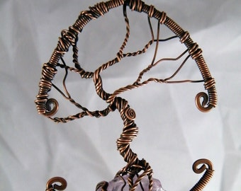 Tree Of Life suncatcher or pendant with and Amethyst crystal