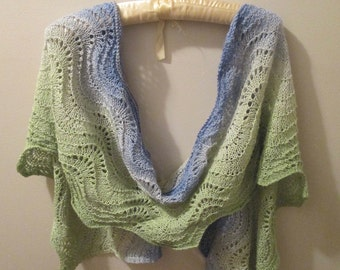 Summer Meadow Silk/Wool Lace Scarf/Stole with Shawl Stick