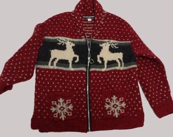 Eco Red Wool Ski Cardigan Sweater