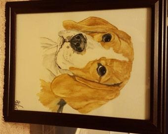 Watercolor Pencil Beagle Painting or Print