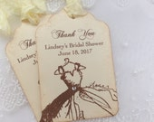 Thank You Bridal Shower Tags Personalized Favor Tags Vintage Wedding Gown