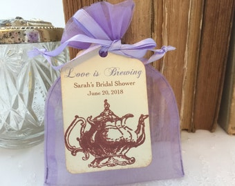 Tea Party Favor Kit DIY Organza Bags and Teapot Tags Lavender