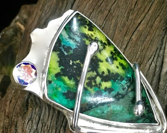Havasupai Shaman - Chrysacola and Irodized Topaz Sterling Silver Pendant