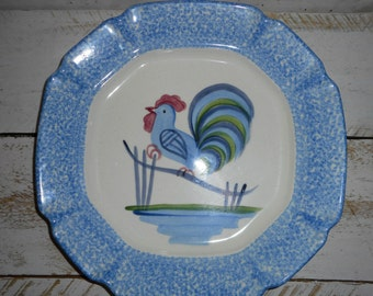 Farmhouse Chic Spongeware Rooster Plates,Farmhouse chic Plate ,Great Rooster decor