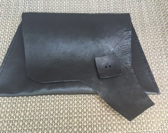 Black Aysemetrical Clutch Handbag