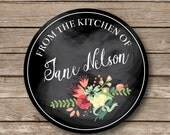 Waterproof baked goods stickers, Personalized baking stickers, chalkboard like stickers, from the kitchen of, set of 9