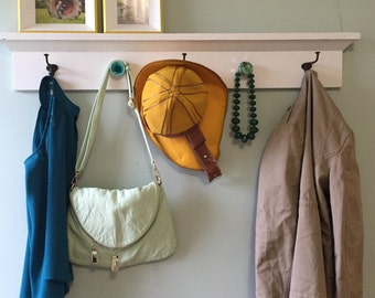 White Coat Rack Shelf