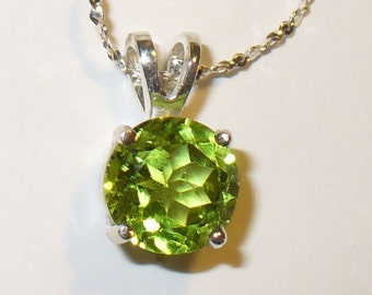 Peridot Pendant in Solid Sterling Silver - Genuine, Natural Mined Gemstone