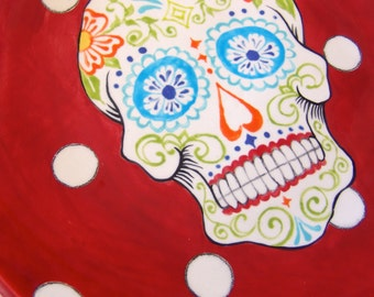 Sugar Skull pottery Serving Bowl / pasta dish -- Day of the Dead whimsical lime green & bright red with polka-dots