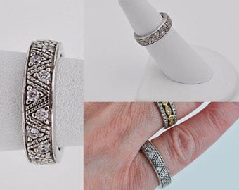 ON SALE Vintage 925 Sterling Silver & CZ Eternity Ring, Infinity Ring, Zig Zag, Anniversary, Size 6, Never-Ending Love! #b264