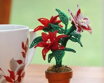 KIT - Mini poinsettia pot, French beaded flowers -level: beginner