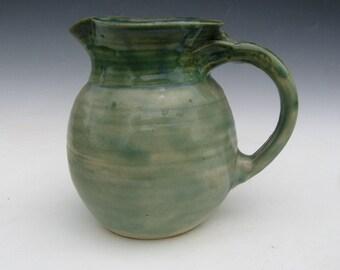 Green Handmade Pottery Pitcher