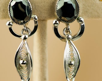 Vintage Earrings Sterling Silver Faceted Hematite and Filigree Vintage Screwback Earrings