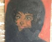 Vintage Painting Portrait Woman 12 x 9 Acrylic on Canvas  - Winter Woman