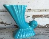 Vintage Bauer Vase - Turquoise Cornucopia  Los Angeles 1940s