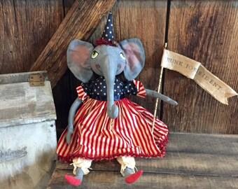 "Melania Trumk ""Trunk For President"" Americana Elephant Folk Art Doll"