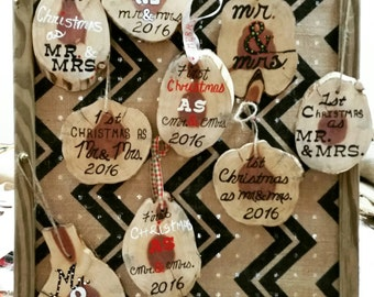 Reclaimed rustic handpainted Mr. & Mrs.  Ornaments