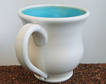 Large Coffee Mug in Turquoise Blue 20 oz. Huge Pottery Stoneware Cup