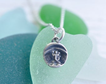 tiny silver mermaid pendant - eloquence, enchantment, mystery - sterling silver wax seal jewelry