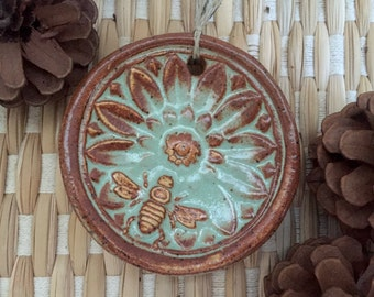 Ceramic Bee Christmas Ornament Honey Bee Mandala with Flower