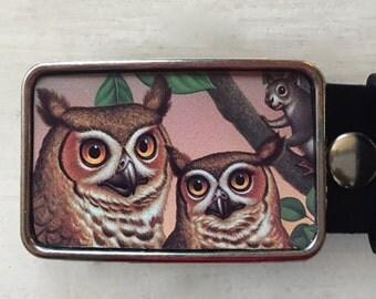 Owl belt buckle for men and women.  Bird belt buckle.  Cute owls!  Hand cut from vintage tins.