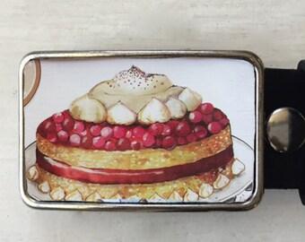 Cake belt buckle!  Vintage tin.  Custom belt buckle gift for bakers.  Dessert lovers.