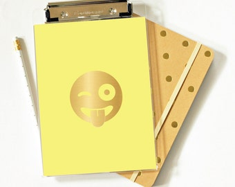 Clipboard - Winky Face - Winky Face Emoji - Foil - Foil Clipboard  - Acrylic Clipbard - Office Supplies - Organization