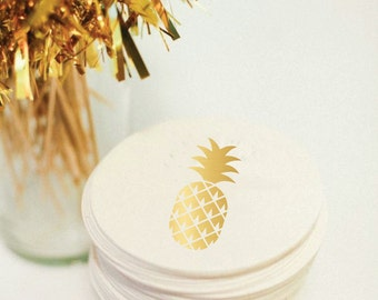 Pineapple Coasters - Foil Coasters - Gold Foil Stamped - Pineapple - cocktail party - Tropical  - Hostess Gift - Foil - set of 10 -