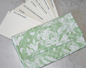 Coupon 0rganizer, Coupon Wallet, Green Vegetable Print Fabric, Cardstock Printed Dividers, Shoppers Gift, Grocery Coupon Organizer