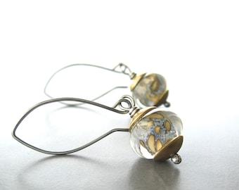 lampwork glass earrings, rustic oxidized jewelry, mixed metal earrings, sterling silver and brass earrings, earthtone earrings