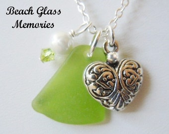 Lime Green Sea Glass Heart Necklace Beach Glass Necklace Seaglass Pendant