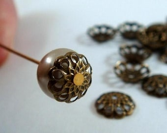50 Bead Cap Antiqued Gold Plated Brass Fancy 8mm - 50 Pc - 3625-10