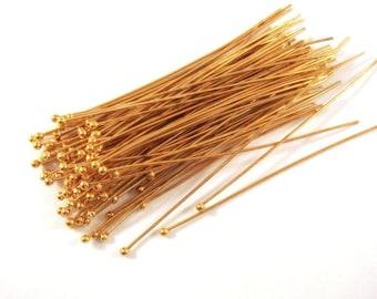 100 Gold Ball Headpins NF Plated Brass 2.25 inch (57mm), 20-21 Gauge - 100 pc - F4139BHP-G100