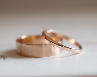 Gold Wedding Band. 18kt Rose Gold ring. Engagement ring, 6mm, Wedding ring, 18kt wedding ring, gold ring, Satin finish. Made to Order.