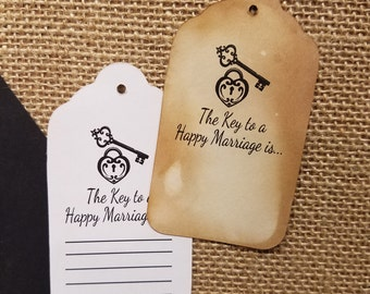 The Key to a Happy Marriage is Set of 50 Large Tags with or without lines