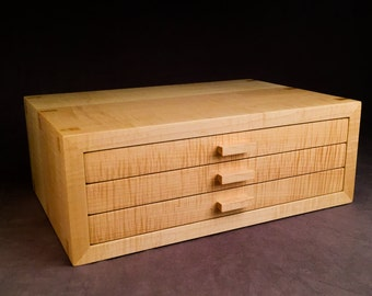 Jewelry Box, Curly Maple Jewelry Chest   ***Completed and ready to ship***