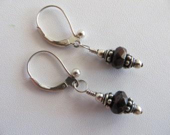Blue Goldstone and Sterling Drop Earrings