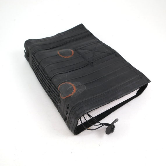 Journal, bike tube, recycled vegan handmade blank, medium