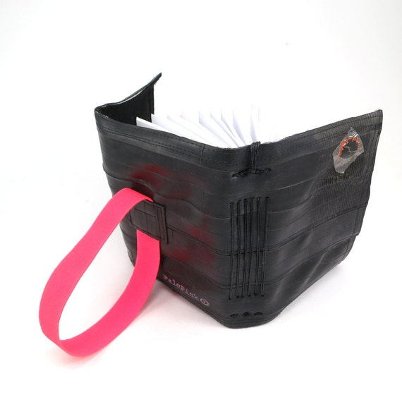 Journal, recycled bicycle inner tube, handmade blank, medium. Neon pink colored elastic closure