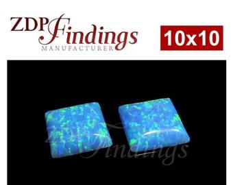 2pcs x Square 10x10mm Opal Lab Created Cabochon Gemstones (OPBSQCB10)