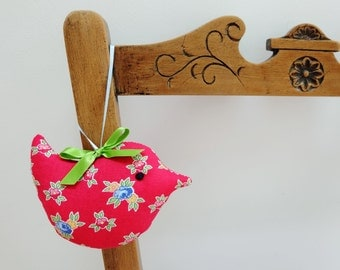 Lavender Sachet Bird, Red Flowers Fabric Scented Bird, Scented Sachet Gift, Pretty Room Decoration
