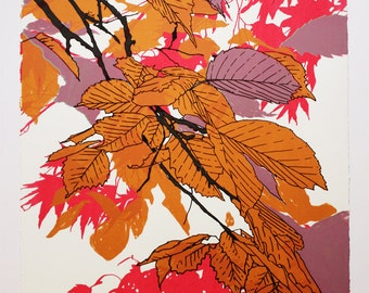 Autumn Leaves Pink Screen Print by Fiona Hamilton