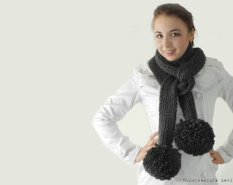 CROCHET PATTERN - Extreme Pom-Pom Scarf - Instant Download (PDF)