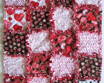 """Heart Baby Blanket, Baby Girl Quilt, 24.5"""" x 30"""", Baby Rag Quilt, Cottage Chic Decor, Red Flannel Baby Blanket"""