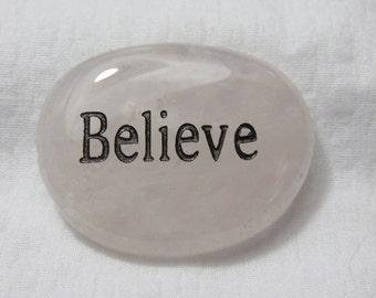 BELIEVE Word Stone ROSE QUARTZ Worry Stone Palm Stone Healing Stone Chakra Healing Crystal Reiki Energy lot 1